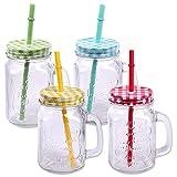 Schramm® 4 Stück Trinkgläser mit Deckel, Henkel und Mehrweg -Strohhalm Trinkhalm wiederverwendbar (iii) Glas Gläser Trinkglas Cocktail ca. 500ml Drinking